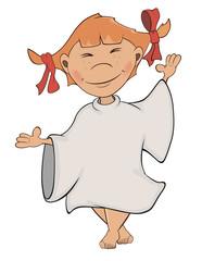 A cute little angel. A girl cartoon