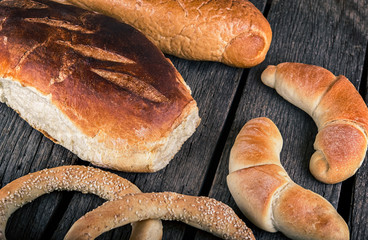 Bakery products on a wooden background