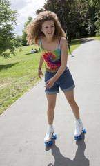 Teenager on roller skates