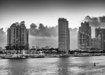 Miami, Florida. Dawn colors over city skyline