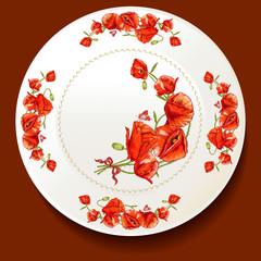 Beautiful bouquet of red poppy on a white plate