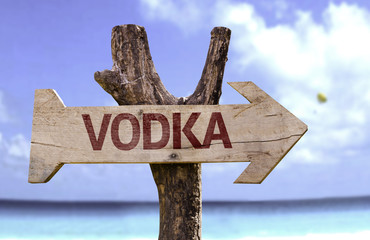 Vodka sign with a beach on background