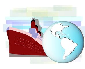Illustration of cruise ship with earth globe
