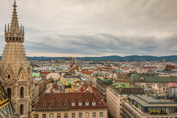 Beautiful birds eye view of Vienna Austria