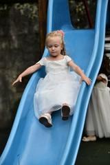 Bridesmaid on playground
