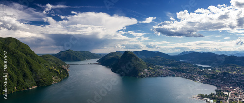 canvas print picture Panorama des Luganer See vom Monte Bre