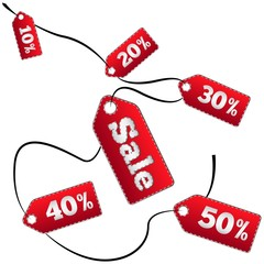 Colorful sale tag on a ribbon of 10-50% discount