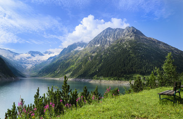 Alpine lake Schlegeis in the valley Zillertal, Austrian Alps