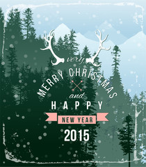landscape with Christmas type design