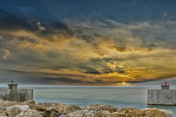 Entrance of harbor with beautiful sky
