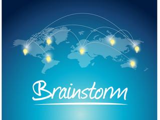 brainstorming message world map illustration