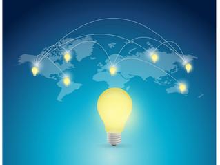 world map light bulb illustration design