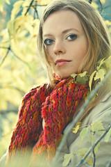 woman, autumn