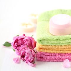 Seife und Handtücher