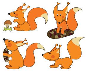 Four fun squirrels