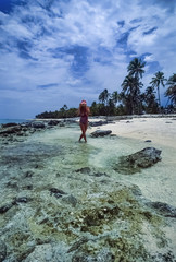 Caribbean Sea, Belize, girl on one of the many Belize islands