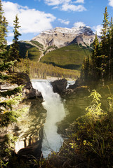 The beautiful athabasca waterfall in the Jasper national park