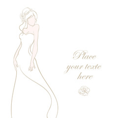 Wedding card with beautiful bride on white background vector ill
