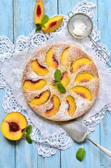Peach pie with yogurt.
