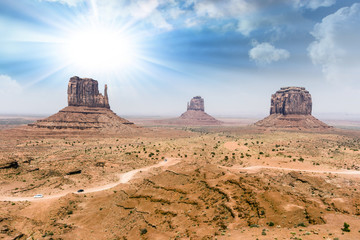 Monument Valley with beautiful sky