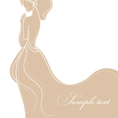 Wedding card with beautiful bride in gold dress vector illustrat