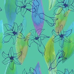 seamless pattern of hyacinth flowers