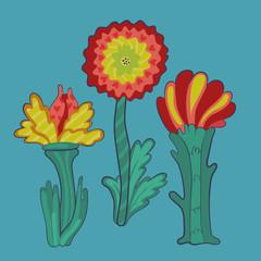 three retro flowers