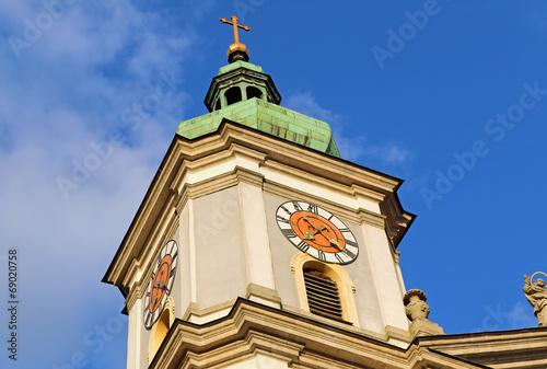 canvas print picture Kirchturm von Basilika
