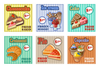 Set of baking menu card. vector illustration