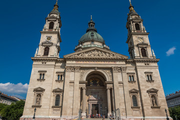 Facade of Saint Stephens Basilica in Budapest Hungary