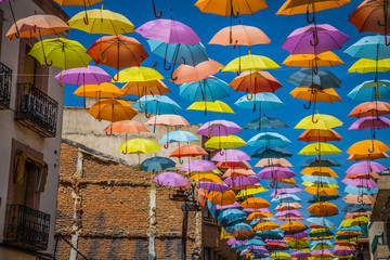 Street decorated with colored umbrellas,Madrid