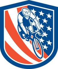 Bicycle Rider USA Flag Shield Retro