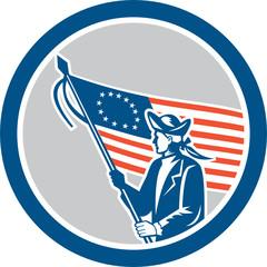 American Serviceman Soldier Flag Circle Retro