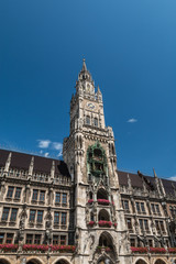 Facade of New town hall in Munich Germany