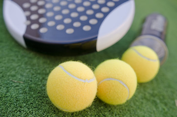 Paddle tennis racketand balls