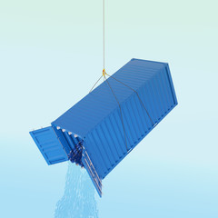 Import problem concept - blue shipping container with wather