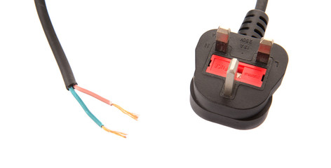 British Standard Three Pin AC Power Plugs And Exposed Wire
