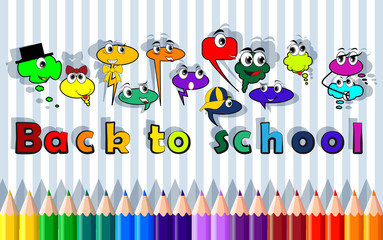 Back to school, bubble characters, vector