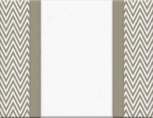 Brown and White Chevron Zigzag Frame with Ribbon Background