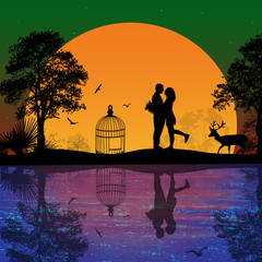Deer and lovers at sunset