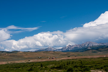 Wyoming Farmland with Tetons in the Distance