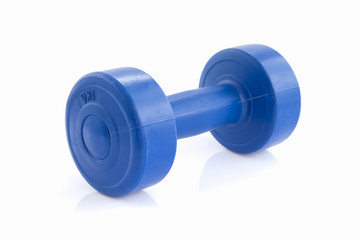 Blue plastic coated dumbells isolated on white