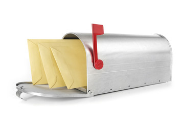 Mailbox with envelopes - stock image