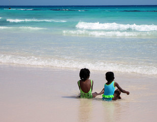 Two Girls on a Beach in Bridgetown, Barbados