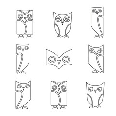 Vector group of owls on white background