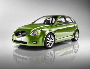 Three-Dimensional Shape Green Sedan Studio Shot