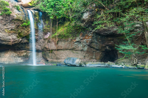 Haew Su thad waterfall with tunnel at Khao Yai national park, Th - 69025587