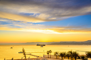 Landscape beach prospects the Red Sea in Aqaba, Jordan