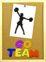 Go Team phrase on a corkboard