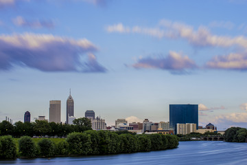 Indianapolis Indiana Skyline Long Exposure Clouds